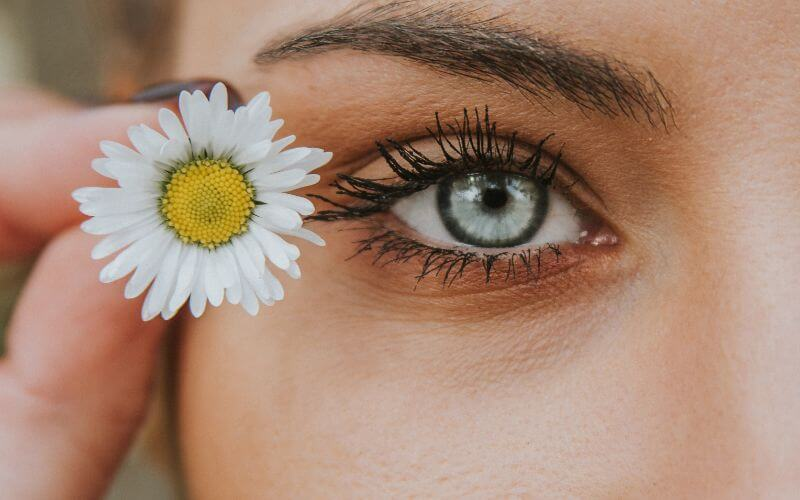 eye with flower glowing